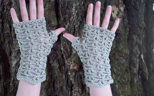 Custom Made Sparkling Gray Waves Fingerless Mittens