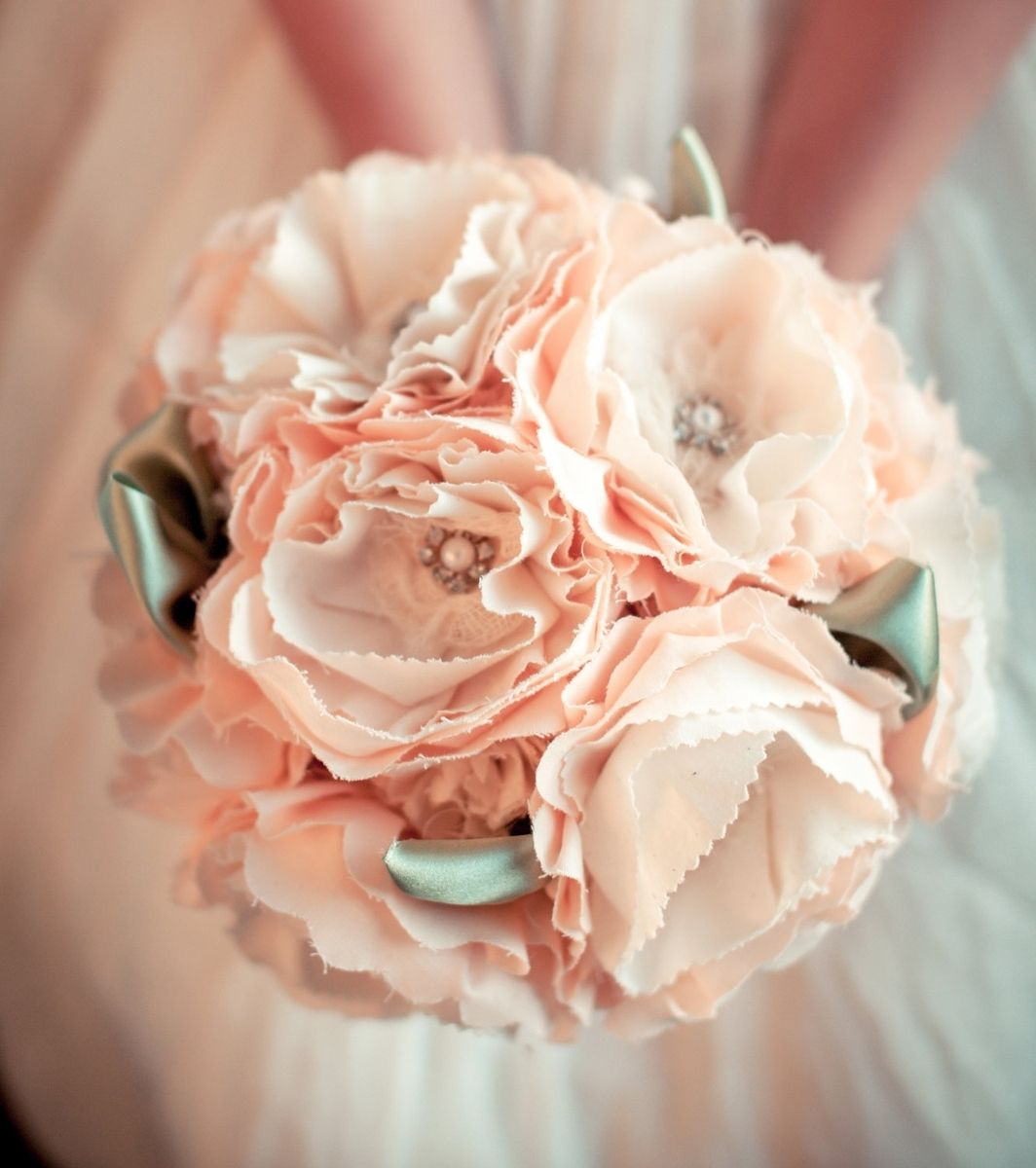 Hand Crafted Peach Cotton Fabric Flower Bridal Bouquet Large