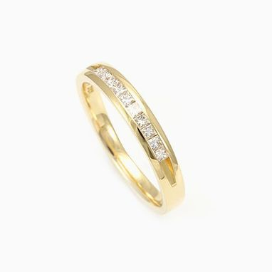 Custom Made Princess Cut Diamond Band In 14k Yellow Gold, Wedding Band, Princess Diamond
