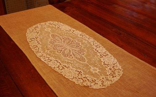 Custom Made Burlap And Vintage Lace Table Runner