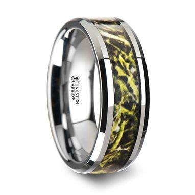 Custom Made Moor Tungsten Carbide Wedding Band With Green Marsh Camo Inlay Ring - 8mm