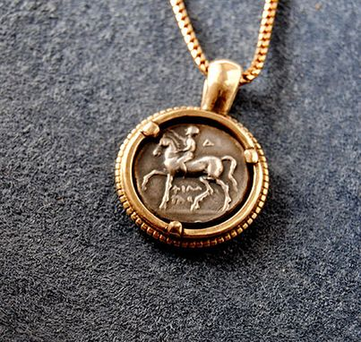 Custom Made 14k Ancient Coin Pendant Horse And Rider