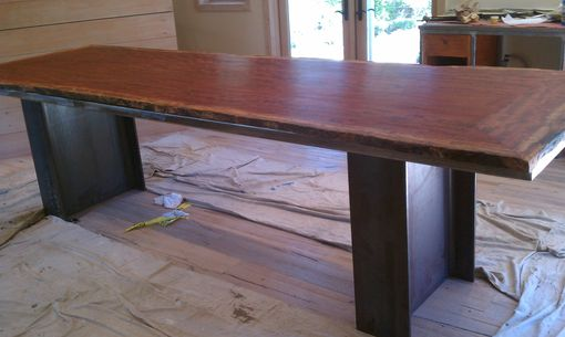 "Custom Made Steel & Bubinga Live Edge 42"" Tall Work/Display Table"