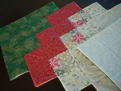 Custom Made Red And Green / Silver And Gold Table Runner