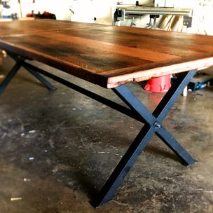 Industrial Farmhouse Reclaimed Solid Oak Dining Table With Black Metal Base By
