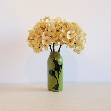 Custom Made Eco-Conscious Home Decor, Glass Bud Vase, Avocado Green, Botanical