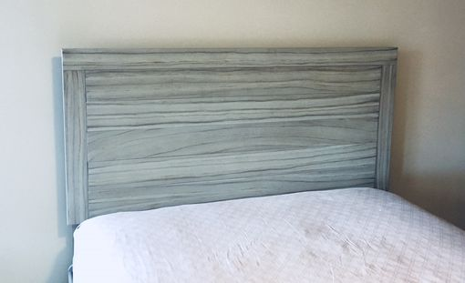 Custom Made Weathered Gray Wood Panel Headboard
