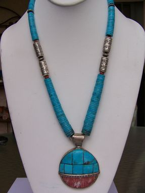 Custom Made Spectacular Sterling Pendant With Spiny Oyster & Blue Turquoise, Heishe And Embossed Sterling Beads