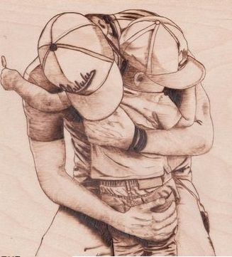 Custom Made Daddy's Hug Pyrography, Woodburning