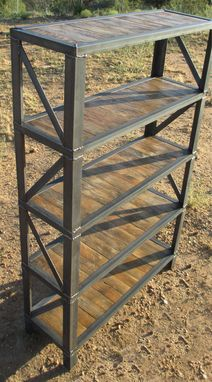 Custom Made Industrial Truss Steel And Salvaged Wood Bookshelf