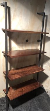 Custom Made Steel And Walnut Bookcase