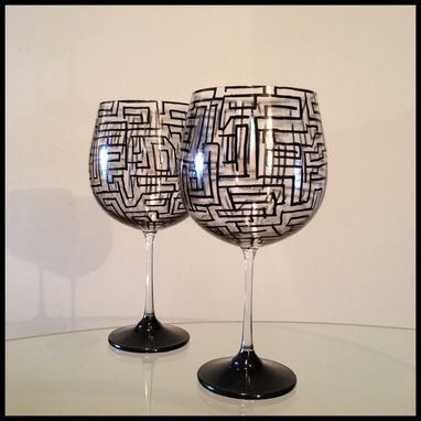 Custom Made Hand Painted Wine Glasses. Abstract Geometric Design