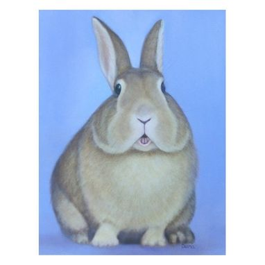 Custom Made Rabbit Art Magnet - Easter Bunny Refrigerator Art - Rabbit Art - Easter Basket Gift