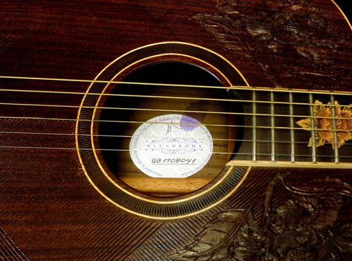 "Custom Made Blueberry All-Rosewood ""Floral"" Acoustic Jumbo Guitar"