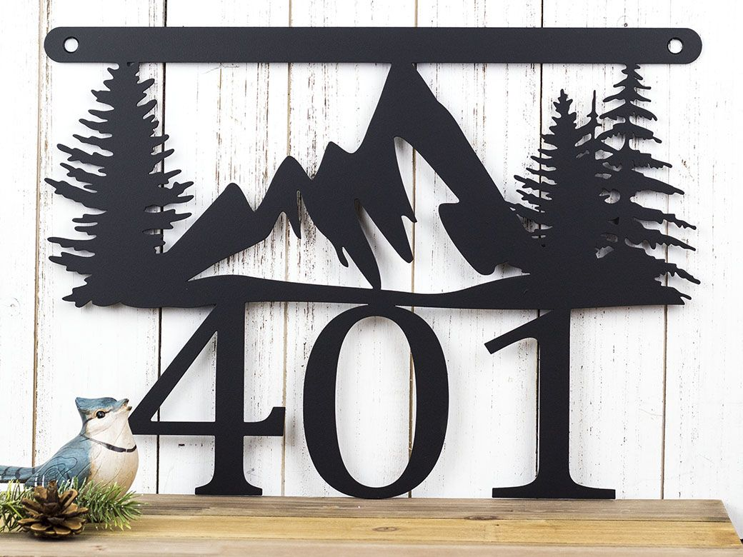 Custom made mountain metal house number sign metal sign outdoor sign house numbers