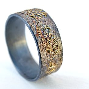 black silver and gold ring unique wedding band two tone viking wedding ring - Viking Wedding Rings
