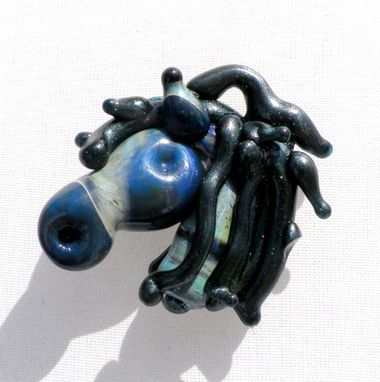 Custom Made Blue And Grey Hand-Blown Glass Horse Head Pendant