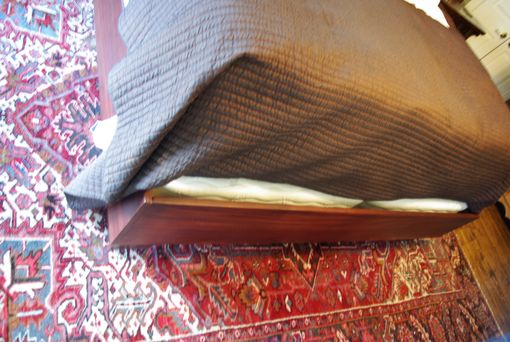 Custom Made African Mahogany Bed With Solid Bed Rails And Tapered Feet