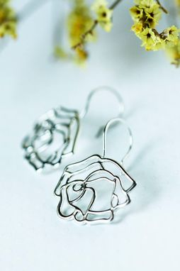 Custom Made Frosted Rose Earrings - Winter Flower Gift