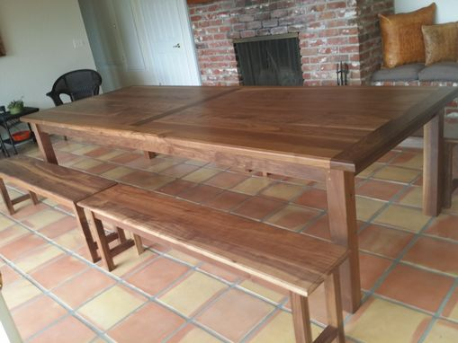 Custom Made Dinning Table And 4 Benches In Walnut