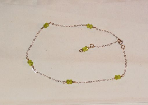 Custom Made Gemstone Chain Anklet Or Bracelet, Birthstone Or Crystal Or Pearl, White Gold