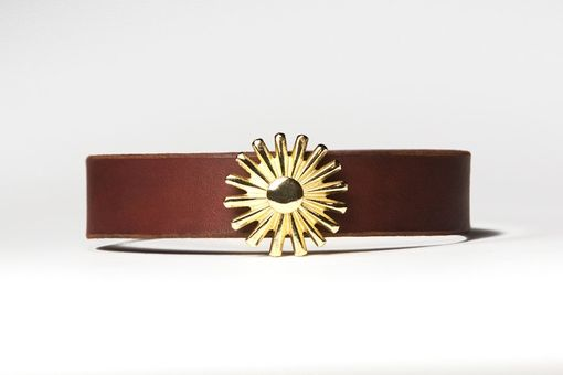 Custom Made Chestnut Brown Leather Choker - Brass Rowel Spur - Brass Fasteners