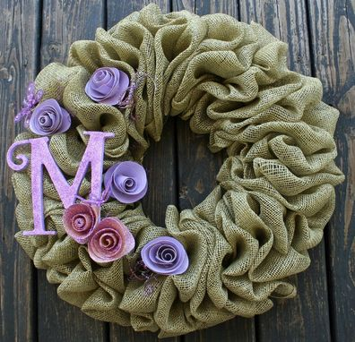 Custom Made Custom Burlap And Beads Wreath