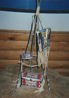 Custom Made Rawhide Painted Box, Bag And Pouch, Sioux Style.