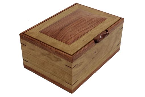 Custom Made Men'S Valet & Watch Box | Solid Figured Cherry Wood & Bubinga