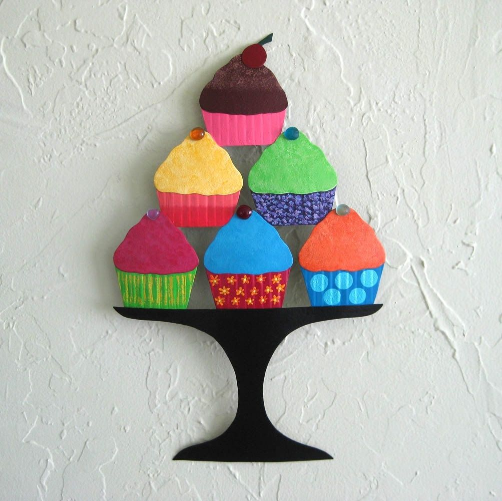 Cupcake Wall Art hand crafted handmade upcycled metal cupcakes wall art sculpture