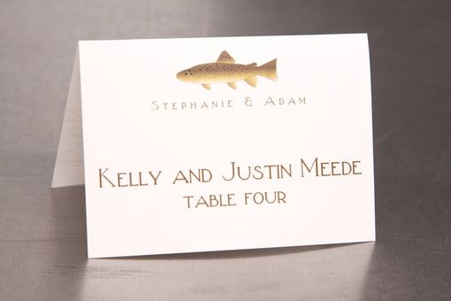 Custom Made Wedding Place Cards - Fish Outdoor Wedding - Escort Cards Custom Designed
