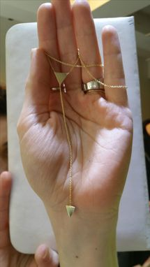 Custom Made Hand Made 14 Kt. Gold Lariat Necklace With Triangles