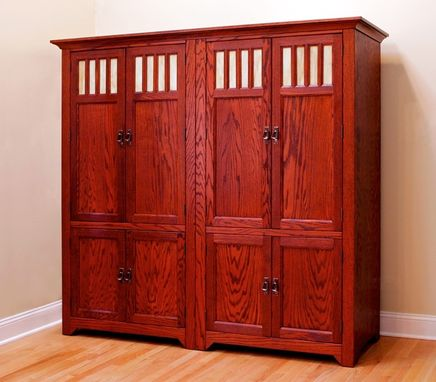 Custom Made Eight Door Entertainment Center: Red Oak With Black Cherry Stain
