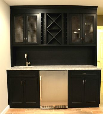 Custom Made Ebony Stained Maple Wet Bar With Carerra Marble Counter