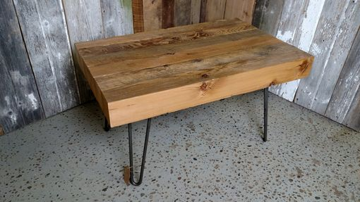 Custom Made Barn Beam And Hairpin Leg Coffee Table