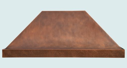 Custom Made Copper Range Hood With Hammered Band