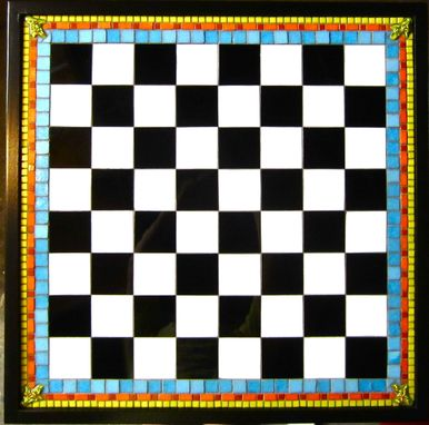 Custom Made Stiained Glass Mosaic Chess Board For Mexican Bobbles