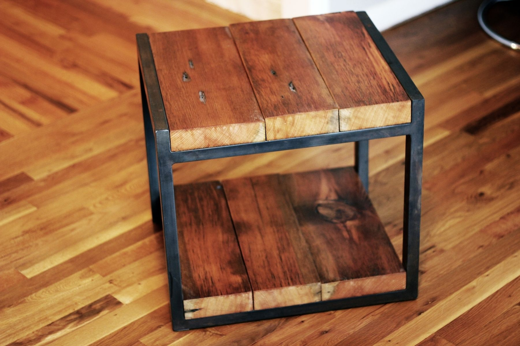 Custom reclaimed wood steel side table by barreto studios Reclaimed wood furniture portland oregon