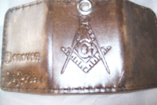 Custom Made Custom Leather Imperial Trifold With Biker Chain, Masonic Symbol And Personalization