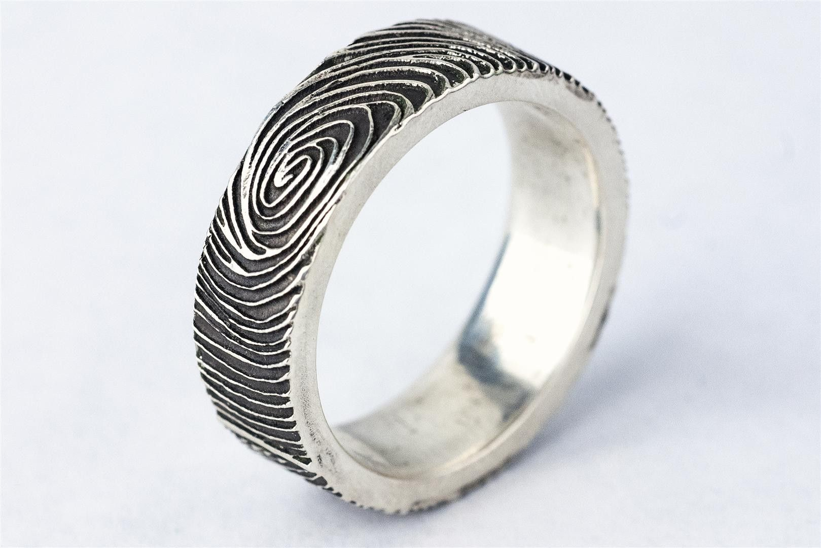 custom made custom fingerprint ring wedding band personalized sterling silver jewelry - Mud Tire Wedding Rings