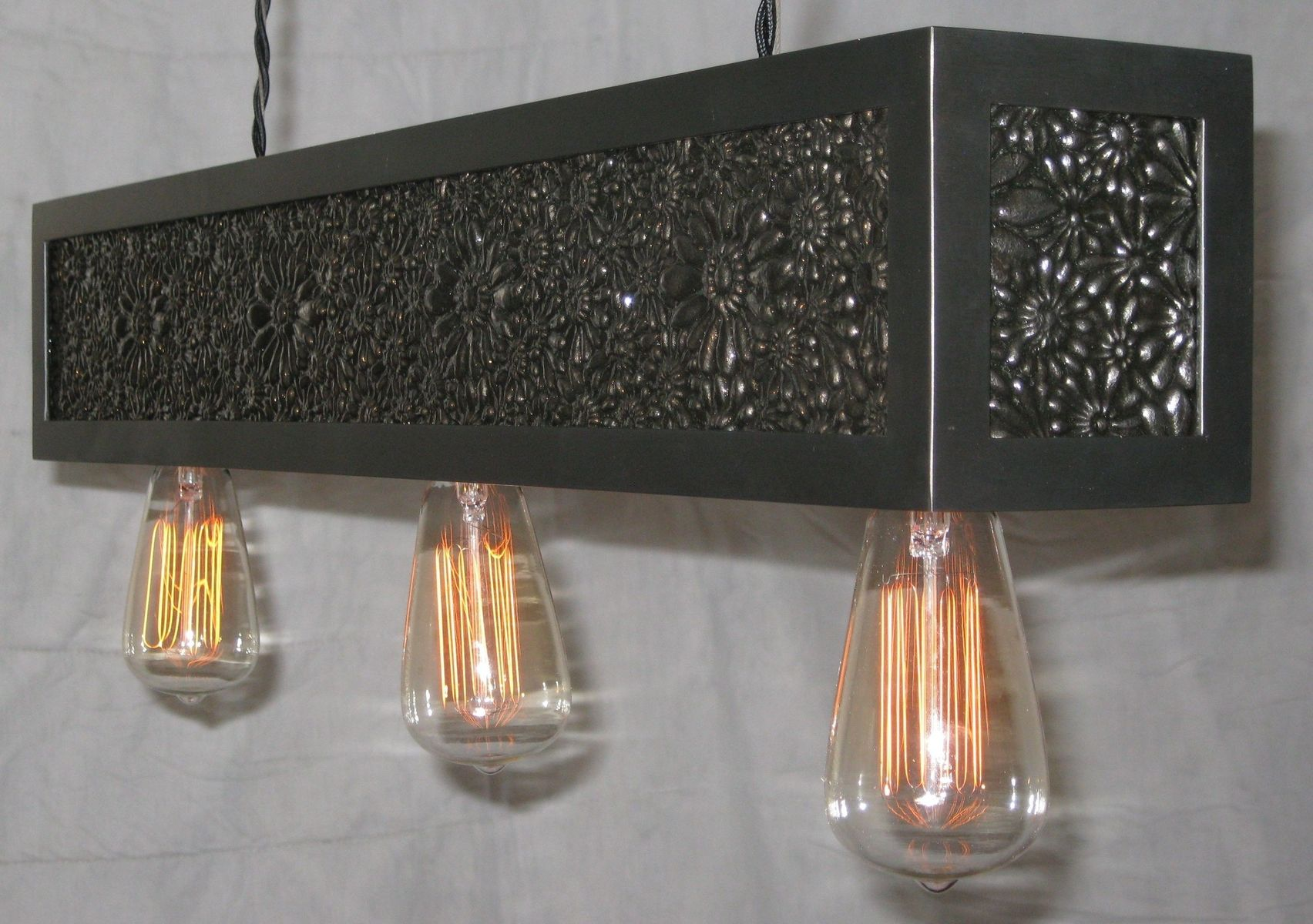 Hand Made Cast Iron And Steel Light Fixture By Bader Art