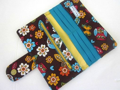 Custom Made Handmade Brown Women Wallet With Owls Butterfly And Flowers