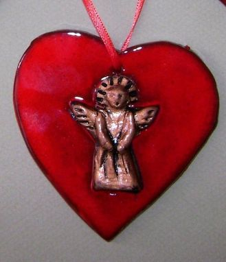 Custom Made Heart With Angle Ornament, Red, Handmade