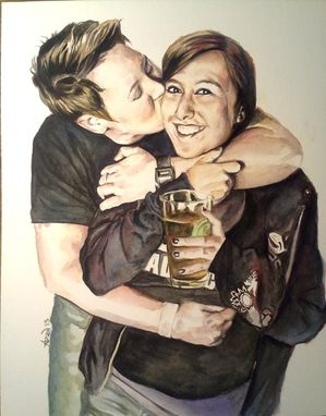 Custom Made Watercolor Couple Portraits