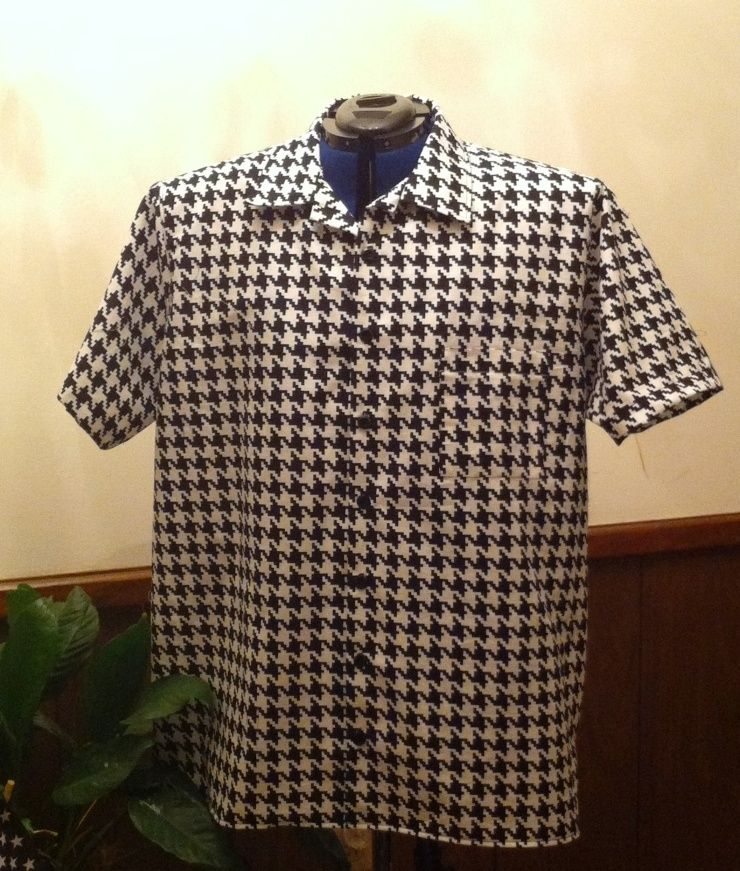 Custom Made Houndstooth Short Sleeve Shirt By Gabbigirlz