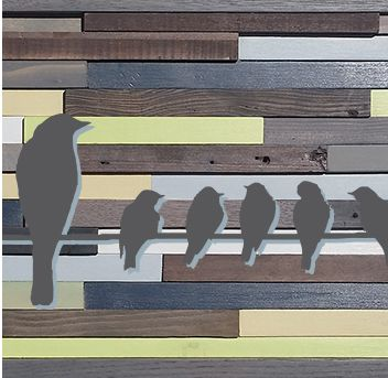 Custom Made Reclaimed Barnwood Wall Art - Birds On A Line [Blue, Green, Grey]