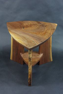 Custom Made Black Walnut Slab Triangle Tables