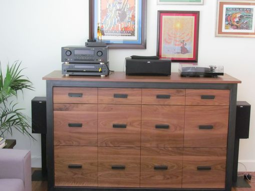 Custom Made Walnut And Steel Record Storage Cabinet