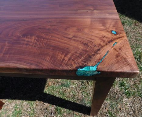 Custom Made Figured Walnut Table With Inlays