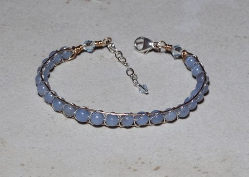 Custom Made Blue Angelite Gemstone Wire Wrapped Cuff Bracelet In Bronze And Sterling Silver